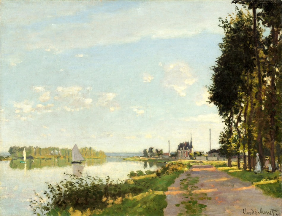 Claude Monet – The National Gallery of Art 1970.17.42. Title: Argenteuil. Date: c. 1872. Materials: oil on canvas. Dimensions: 50.4 x 65.2 cm. Inscriptions: Claude Monet (lower right). Nr.: 1970.17.42. Source: http://www.nga.gov/content/ngaweb/Collection/art-object-page.52186.html. I have changed the contrast of the original photo.