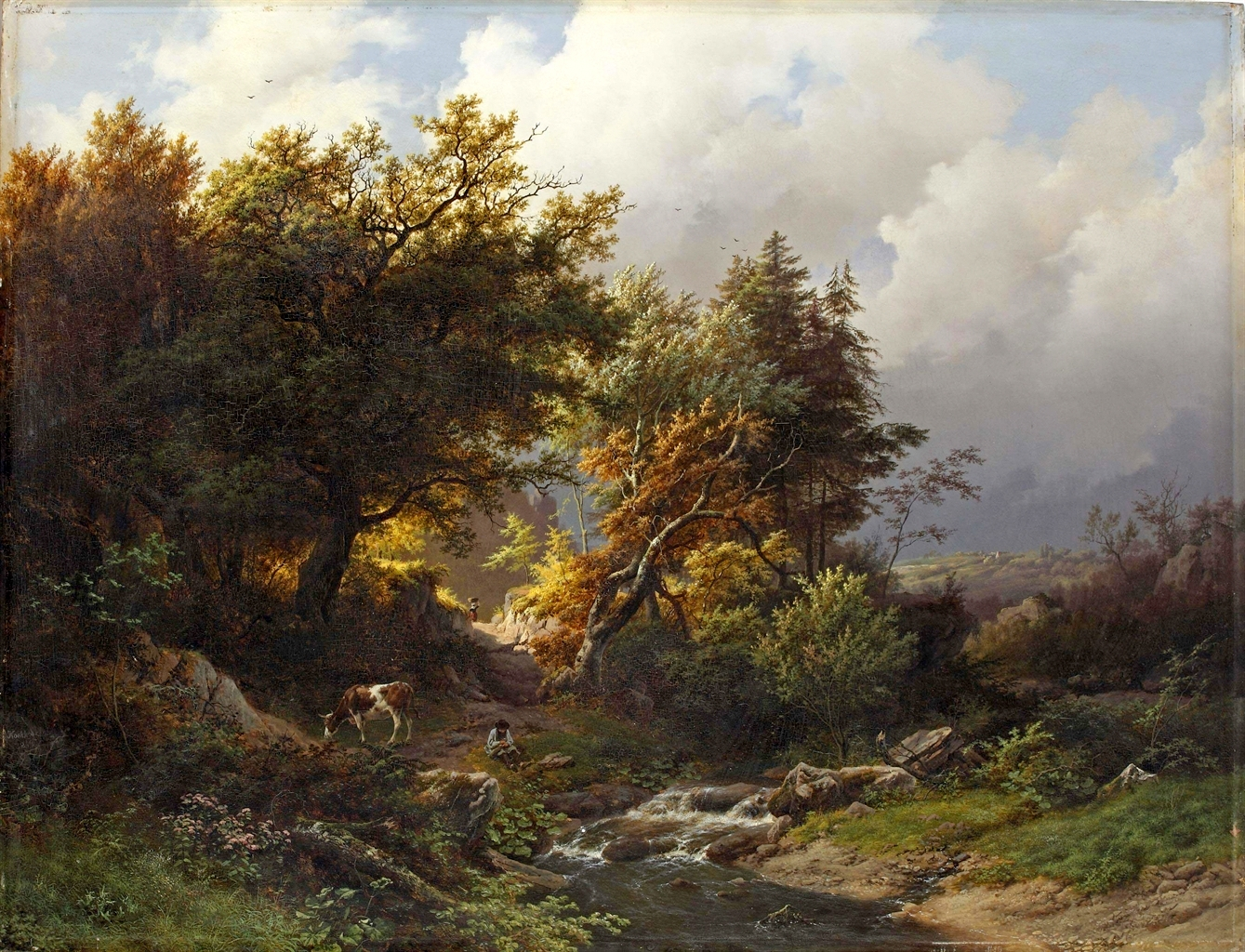 Barend Cornelis Koekkoek – private collection. Title: A Sunlit Forest After a Storm. Date: 1848. Materials: oil on panel. Dimensions: 73.5 x 95 cm.  Inscriptions: B.C. Koekkoek 1848 (lower left). Sold by Christie's in Amsterdam, on November 25-26, 2014.  Source: http://www.christies.com/lotfinderimages/d58479/d5847939a.jpg. I have changed the light and contrast of the original photo.