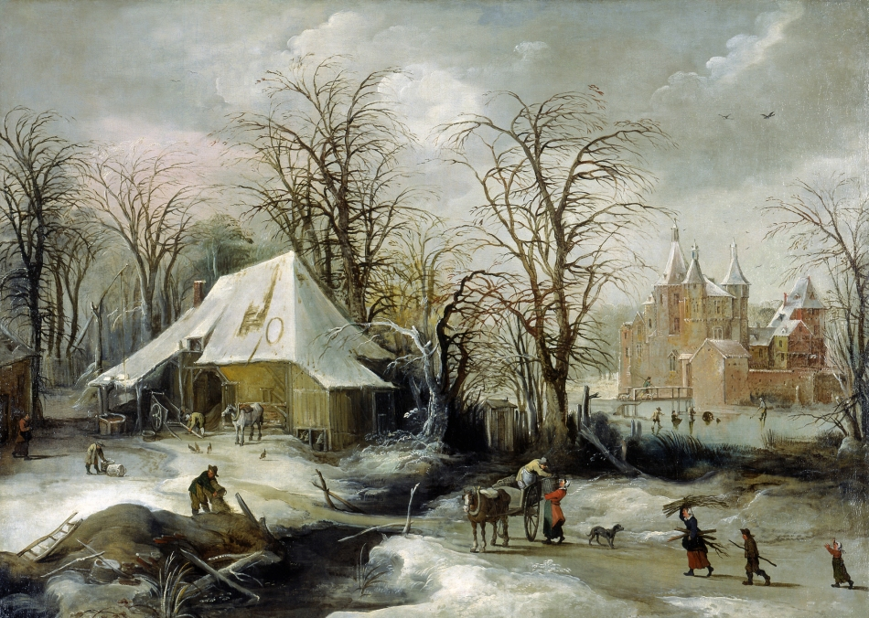 Joos de Momper II – North Carolina Museum of Art. Title: Winter Landscape. Date: c. 1625-1630. Materials: oil on canvas. Dimensions: 118.1 x 165.9 cm. Nr.: ? Source: http://artnc.org/works-of-art/winter-landscape