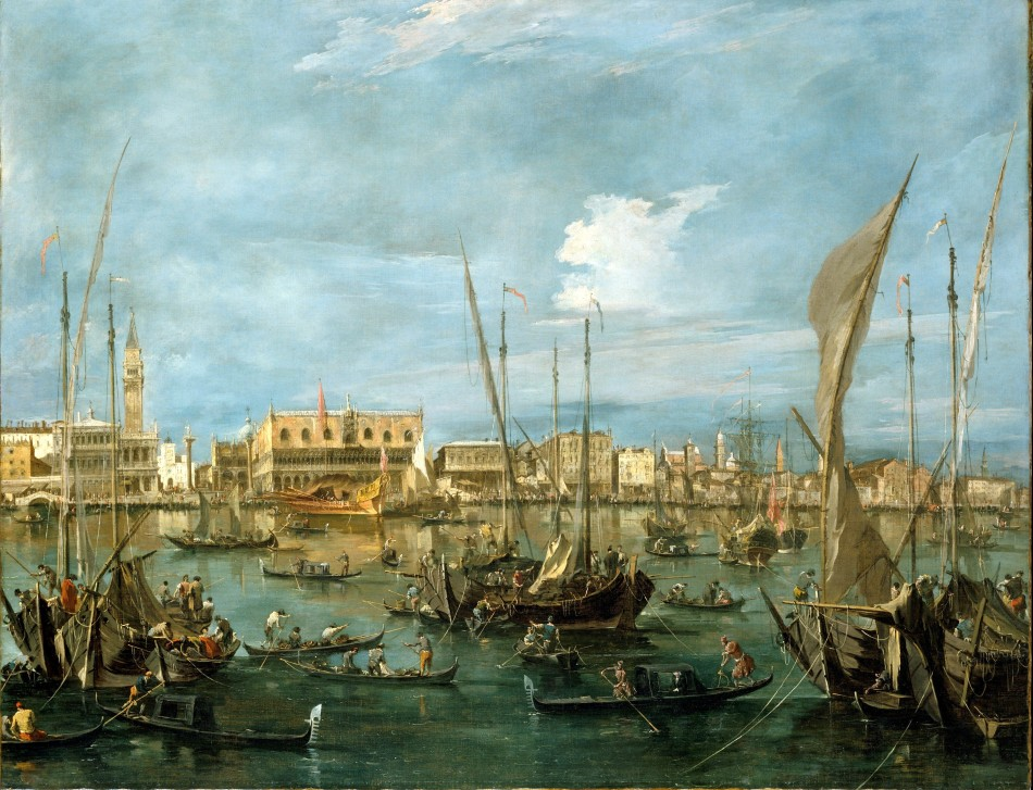Francesco Guardi – The Metropolitan Museum of Art 65.181.8. Title: Venice from the Bacino di San Marco. Date: c. 1760. Materials: oil on canvas. Dimensions: 121.9 x 152.4 cm. Nr.: 65.181.8. Source: http://www.metmuseum.org/collection/the-collection-online/search/436596?. I have changed the light, contrast and colors of the original photo.