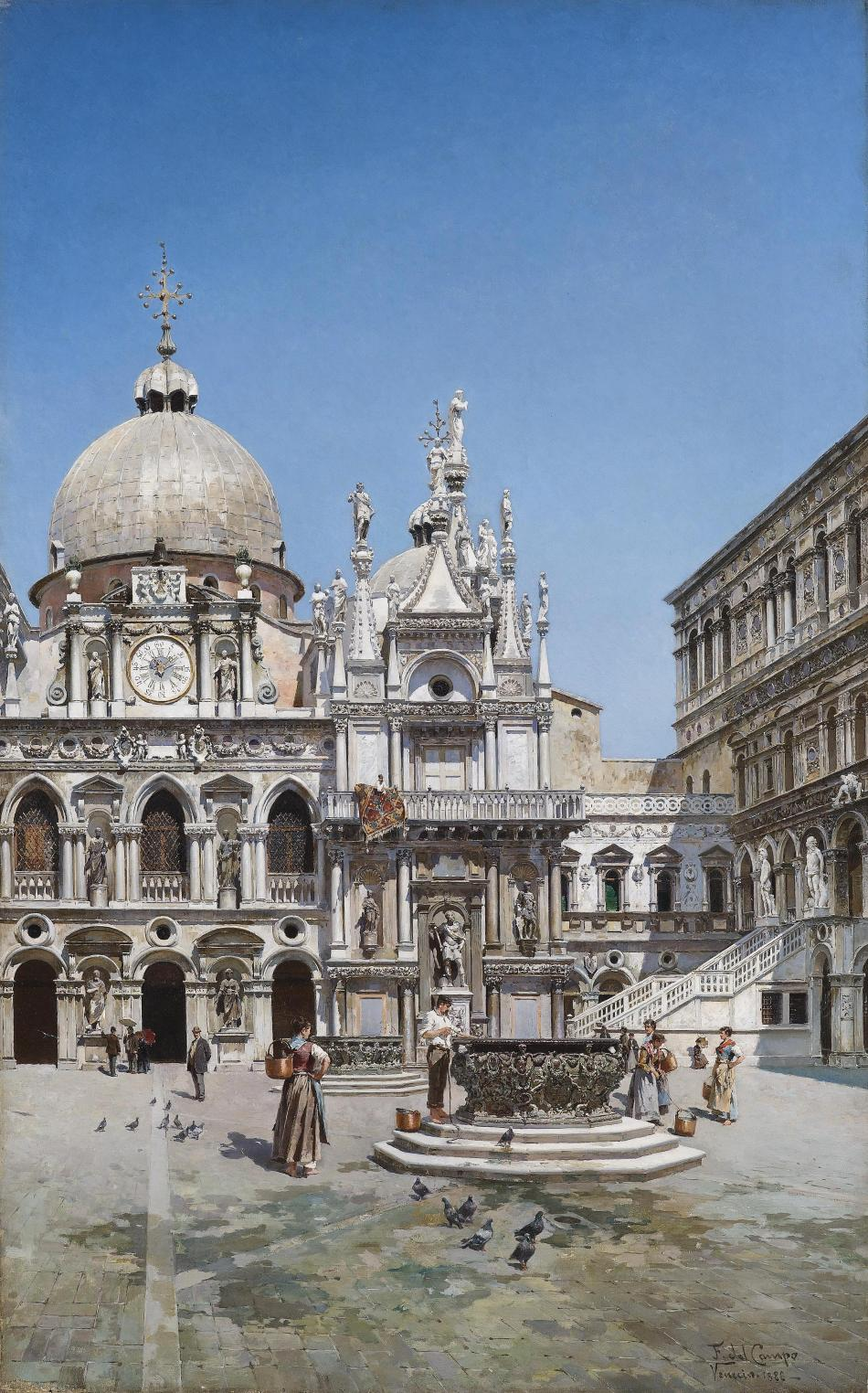Federico del Campo – private collection. Title: Courtyard of the Doge's Palace, Venice. Date: 1888. Materials: oil on canvas. Dimensions: 95 x 60 cm. Auctioned by Dorotheum in Vienna, on October 16, 2012. Source: https://commons.wikimedia.org/wiki/File:Federico_del_Campo_Innenhof_Palazzo_Ducale_Venedig_1888.jpg. I have changed the contrast of the original photo.