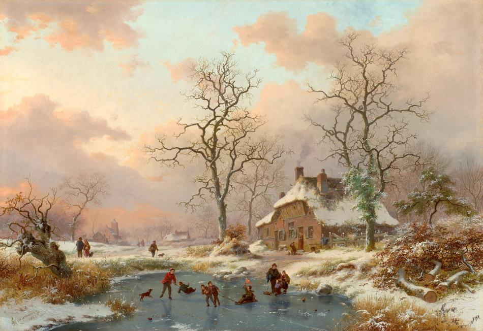 Frederik Marinus Kruseman – private collection. Title: The Frozen Pond. Date: 1882. Materials: oil on panel. Dimensions: 47.5 x 68 cm. Sold by Sotheby's on July 11, 2007.  http://1.bp.blogspot.com/-HLr3pxZhjCs/UODwUpuZb-I/AAAAAAAABpk/QFoxm0so5uM/s1600/Frederik+Marinus+Kruseman+-Winter+%252820%2529.jpg.
