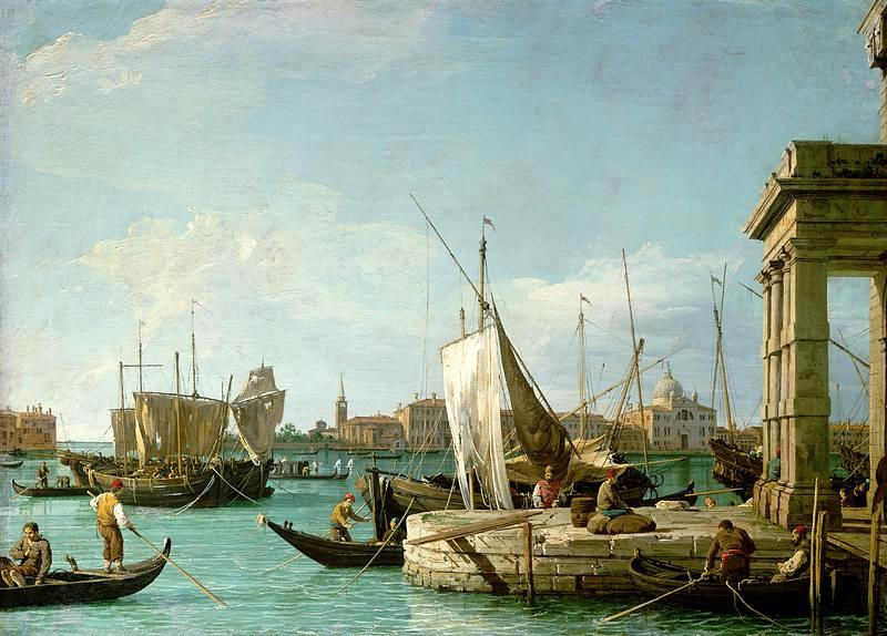 Canaletto – Kunsthistorisches Museum GG_6331. Title: La Punta della Dogana. Date: c. 1726-1728. Materials: oil on canvas. Dimensions: 46 x 62.5 cm. Nr.: GG_6331. Source: http://www.kunstmuseum.li/bilder/3245.jpg. I have changed the contrast of the original photo.