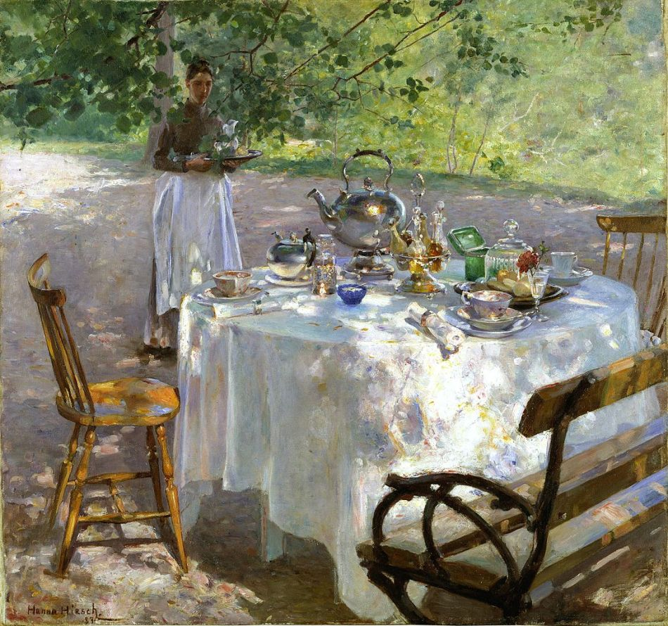 Hanna Hirsch-Pauli – Nationalmuseum NM 1705. Title: Frukostdags. Date: 1887. Materials: oil on canvas. Dimensions: 87 x 91 cm. Inscriptions: Hanna HiRsch. 87. Nr.: NM 1705   Source: https://commons.wikimedia.org/wiki/File:Hanna_Pauli_-_Frukostdags.JPG.