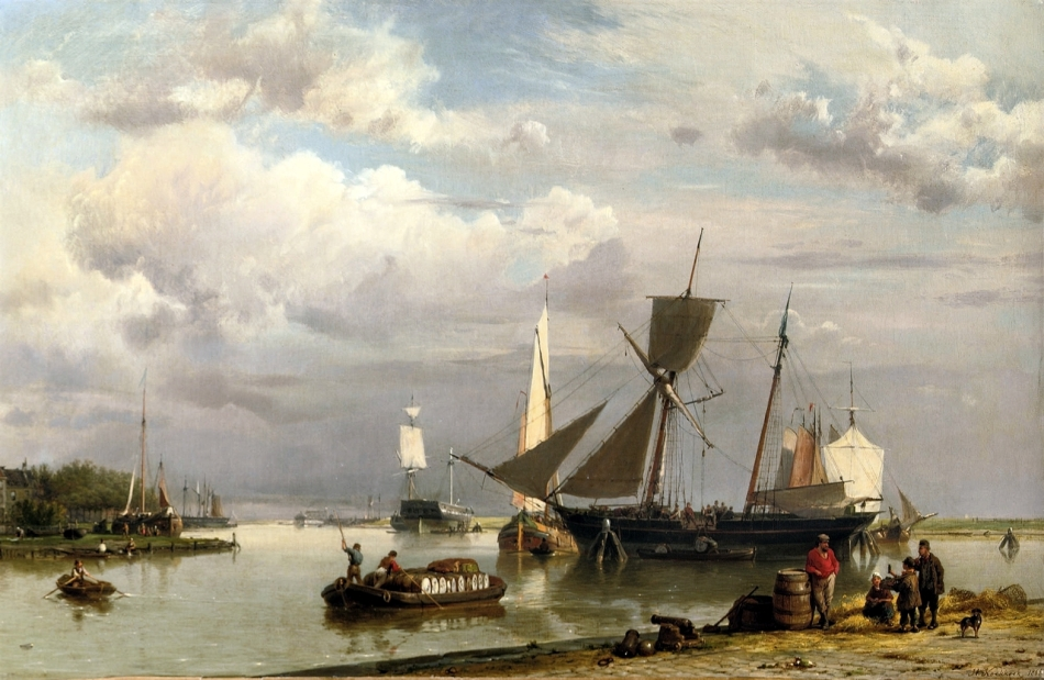 Hermanus Koekkoek (Senior) – private collection. Title: Near Groningen: Loading the Two-Master on a Calm Day. Date: 1865. Materials: oil on canvas. Dimensions: 39 x 57.5 cm. Inscriptions: H. Koekkoek 1865 (lower right). Sold by Christie's in Amsterdam, on November 18, 2008. Source: https://commons.wikimedia.org/wiki/File:Hermanus_Koekkoek_(sr.)_-_Near_Groningen-_loading_the_two-master_on_a_calm_day_(1865).jpg. I have changed the light, contrast and colors of the original photo.