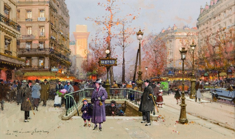 Eugène Galien-Laloue – Callaghan Fine Paintings & Contemporary Bronze. Title: Porte Saint Martin. Date: c. 1890-1910. Materials: watercolor and gouache. Dimensions: 31 x 18 cm. Source: http://www.callaghan-finepaintings.com/art/view/203-Porte-Saint-Martin.
