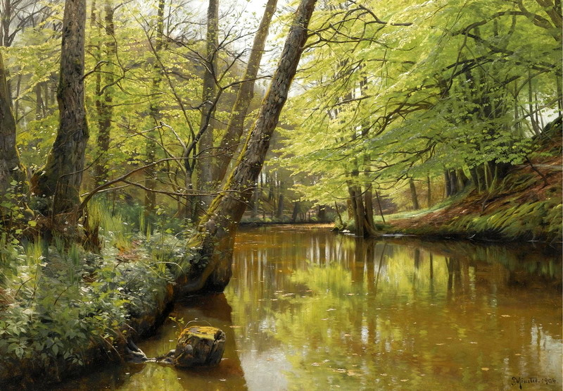 Peder Mørk Mønsted -- private collection. Title: River Flowing Through a Tranquil Forest. Date: 1904. Materials: oil on canvas. Dimensions: 71 x 101 cm.  Inscriptions: P Mônsted. 1904 (lower right). Auctioned by Sotheby's in London, on June 25, 2007. Source: http://incolor-art.ru/artists/monsted/images/Monsted%200006.jpg. I have changed the contrast of the original photo.
