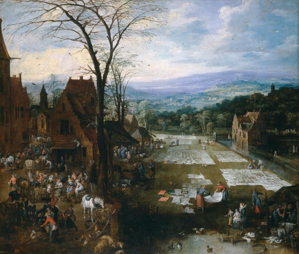 Jan Brueghel the Elder, Joos de Momper II – Museo del Prado P01443. Title: Flemish Market and Washing Place. Date: c. 1620. Materials: oil on canvas. Dimensions: 166 x 194 cm. Nr. : P01443.. Source: https://www.museodelprado.es/en/the-collection/online-gallery/on-line-gallery/obra/flemish-market-and-washing-place/.