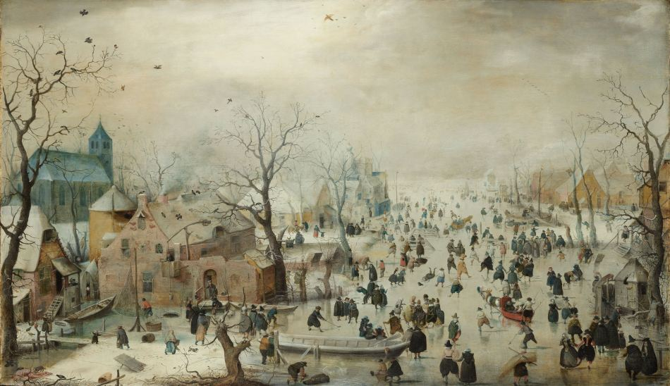 Hendrick Averkamp – Rijksmuseum SK-A-1718. Title: Winterlandschap met schaatsers. Date: c. 1608. Materials: oil on canvas. Dimensions: 77.3 x 131.9 cm. Inscriptions: HAenricus Av (right, on a door). Nr.: SK-A-1718.. Source: https://www.rijksmuseum.nl/nl/ontdek-de-collectie/overzicht/hendrick-avercamp/objecten#/SK-A-1718,2.