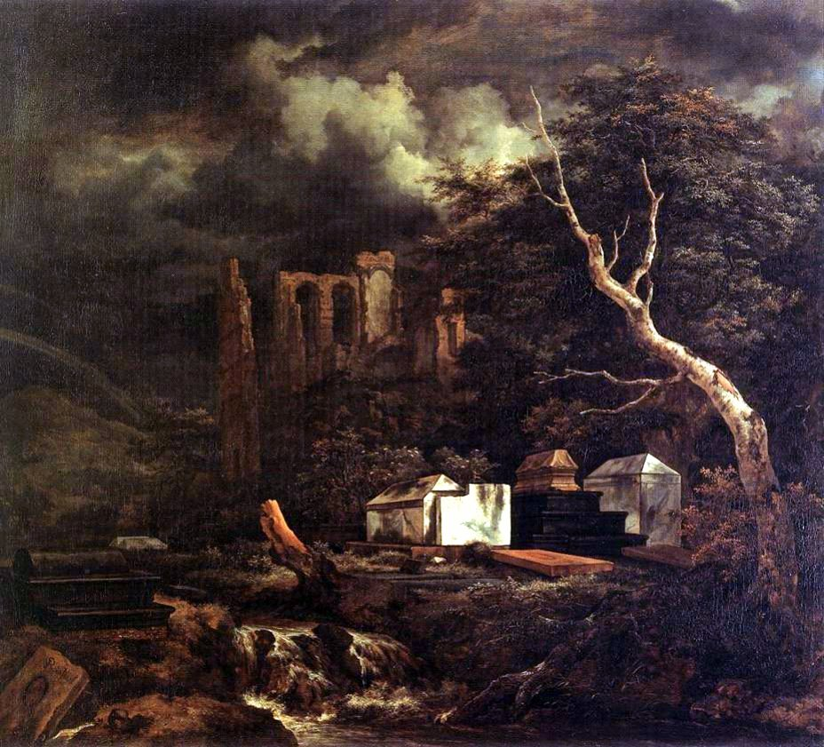 Jacob van Ruisdael – Staatlichen Kunstsammlungen Dresden Gal.-Nr. 1502. Title: Der Judenfriedhof. Date: c. 1655. Materials: oil on canvas. Dimensions: 84 x 95 cm. Nr. : Gal.-Nr. 1502. Source: https://mydailyartdisplay.files.wordpress.com/2011/02/the-jewish-cemetery-by-jacob-van-ruisdael.jpg. I have changed the light, contrast and colors of the original photo.