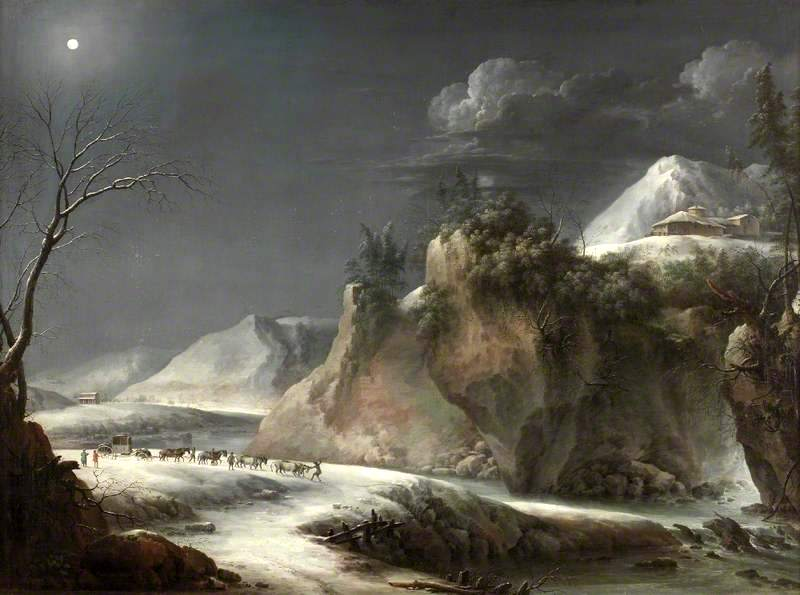 Francesco Foschi (attributed to) – The Shipley Art Gallery. Title: Winter Scene in the Italian Alps. Date: c. 1735-1765. Materials: oil on canvas. Dimensions: 99.2 x 136 cm.  http://ichef.bbci.co.uk/arts/yourpaintings/images/paintings/sag/large/twms_sag_twcms_b9996_large.jpg. I have changed the contrast of the original photo.