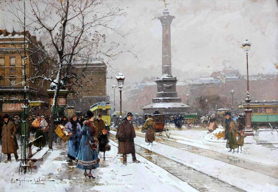Eugène Galien-Laloue – private collection. Title: La place de la Bastille. Date: c. 1900-1920. Materials: gouache on paper. Dimensions: 26 x 37 cm. Source: http://image.masterart.com/tsmedia/WalkerWalphoto/Walker1562012T162022.jpg?qlt=75&cell=1800,1800&cvt=jpg. I have changed the contrast of the original photo.