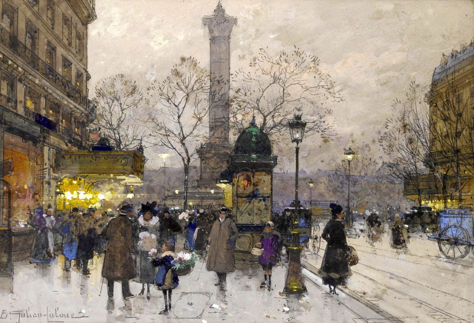 Eugène Galien-Laloue - private collection. Title: La Bastille. Date: c 1900-1920. Materials: gouache. Dimensions: 31.5 x 31 cm. Source: https://commons.wikimedia.org/wiki/File:Eug%C3%A8ne_Galien-Laloue_La_Bastille.jpg. I have changed the contrast of the original photo.