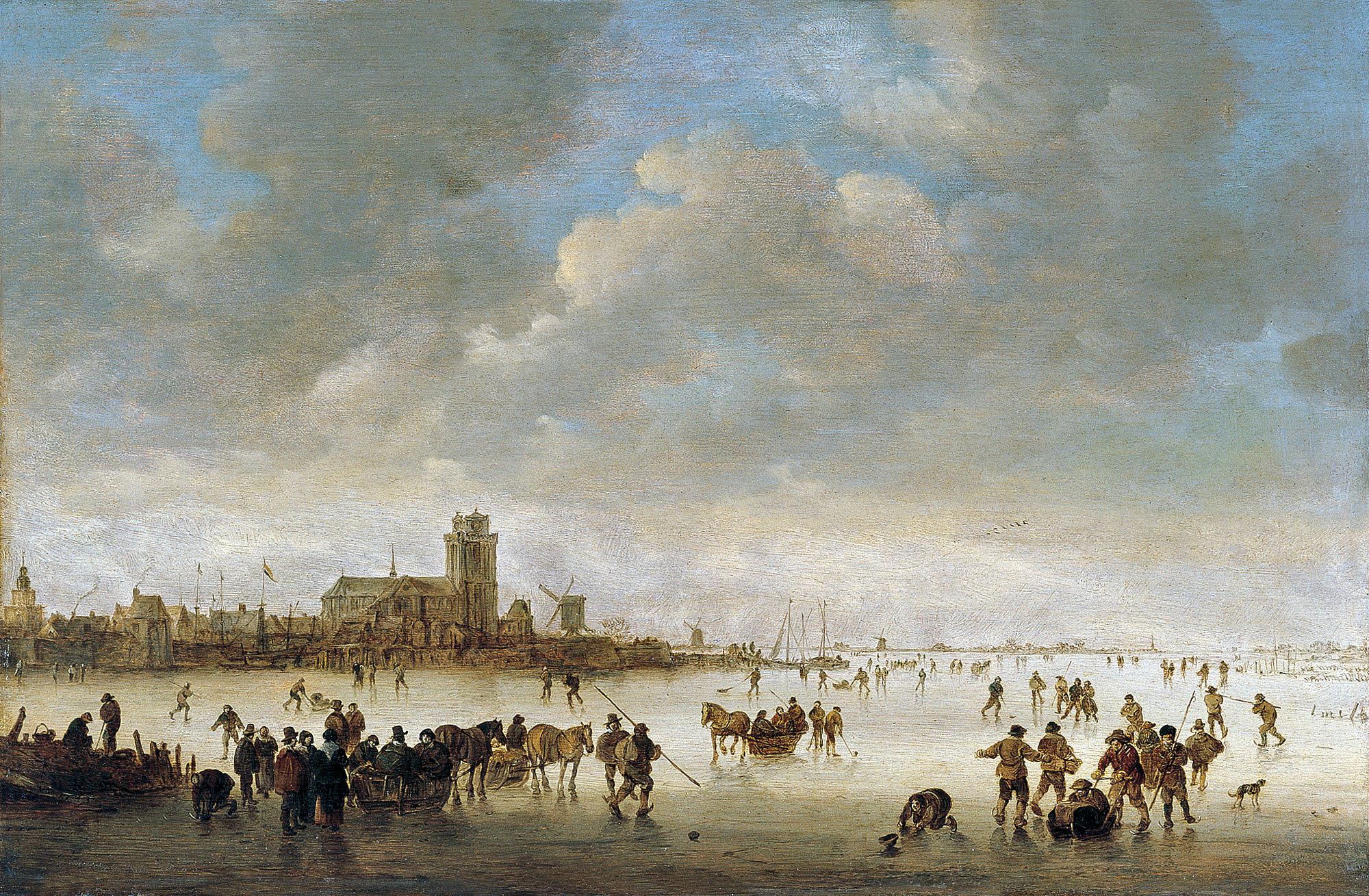 Jan van Goyen – Museo Thyssen-Bornemisza 167 (1957.7). Title: Winter Landscape with Figures on the Ice. Date: 1643. Materials: oil on panel. Dimensions: 39.6 x 60.7 cm. Nr. : 167 (1957.7). Source: http://www.museothyssen.org/en/thyssen/ficha_obra/373. I have changed the light, contrast and colors of the original photo.