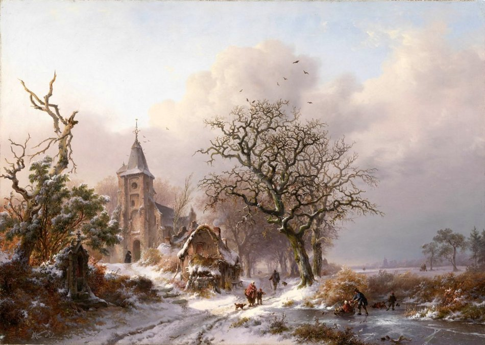 Frederik Marinus Kruseman – private collection. Title: Dutch Winter Landscape with Skaters. Date: 1857. Materials: oil on canvas. Dimensions: 50.5 x 70 cm. Sold by Van Ham on May 11, 2012. Source: http://s58.radikal.ru/i162/1403/e0/2dfc5e5b2cf9.jpg. I have changed the contrast of the original photo.