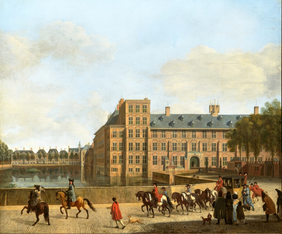 Gerrit Berckheyde – Prince William V Gallery 690. Title: A Hunting Party near the Hofvijver in The Hague, Seen from the Buitenhof. Date: c. 1685-1690. Materials: oil on canvas. Dimensions: 53.7 x 63.3 cm. Inscriptions: Gerrit Berck heyde. Hughtenburgh. Nr.: 690. Sold by Koller Auktionen in Zürich, on March 27, 2009.  Source: https://www.mauritshuis.nl/en/discover/prince-william-v-gallery/highlights-gallery/a-hunting-party-near-the-hofvijver-in-the-hague-seen-from-the-buitenhof-690/. I have changed the contrast of the original photo.
