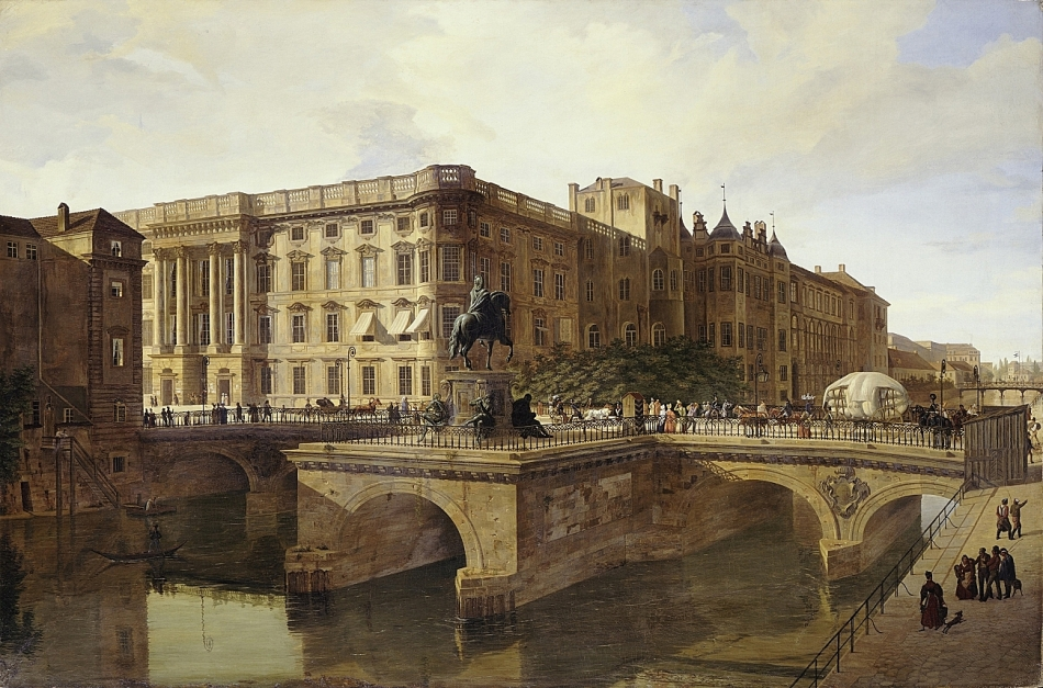 Maximilan Roch – The Hohenzolllern Castle. Title: Schloss und die Lange Brücke mit dem Reiterstandbilddes Großen Kurfürsten. Date: 1842. Materials: oil on canvas. Dimensions: 62 x 99.5 cm. Source: http://ww2.smb.museum/schlueter/files/images/big-04-maximilian-roch-schloss-und-lange-bruecke-mit-reiterstandbild-grosser-kurfuerst-jpg1394032485.jpg. I changed the light of the original photo.