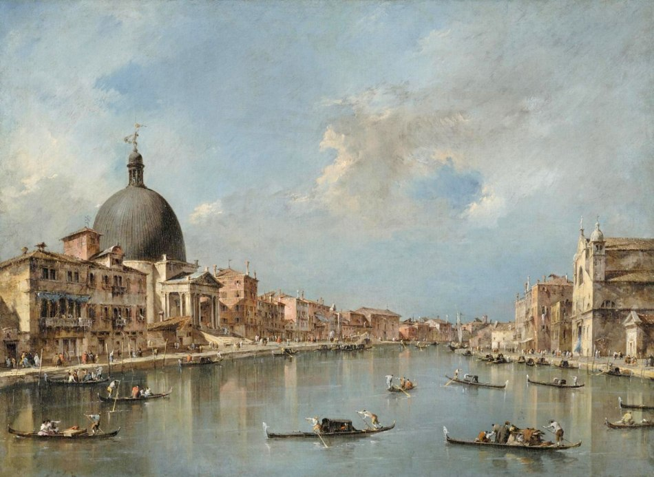 Francesco Guardi – Philadelphia Museum of Art. John G. Johnson Collection, 1917. Title: The Grand Canal with San Simeone Piccolo and Santa Lucia. Date: c. 1780. Materials: oil on canvas. Dimensions: 67.3 x 91.5 cm. Nr.: John G. Johnson Collection, 1917. Source: http://www.philamuseum.org/collections/permanent/102064.html?mulR=1406243584|13. I have changed the light of the original photo.