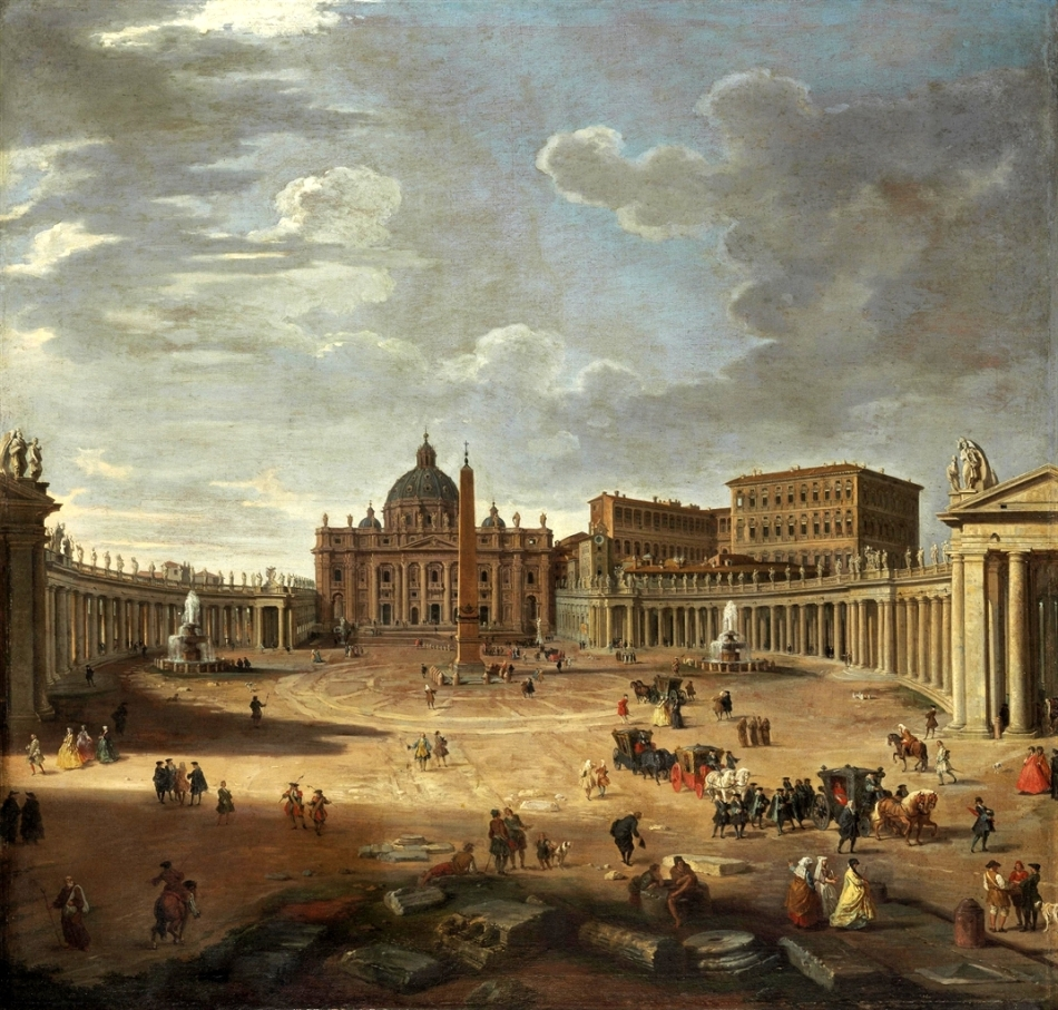Giovanni Paolo Panini – private collection. Title: View of Saint Peter's Square, Rome. Date: 1750. Materials: oil on canvas. Dimensions: 118.8 x 123.2 cm. Sold by Christie's in New York, on January 30, 2013. Source: http://www.christies.com/lotfinderimages/d56496/d5649669a.jpg. I have changed the contrast of the original photo.
