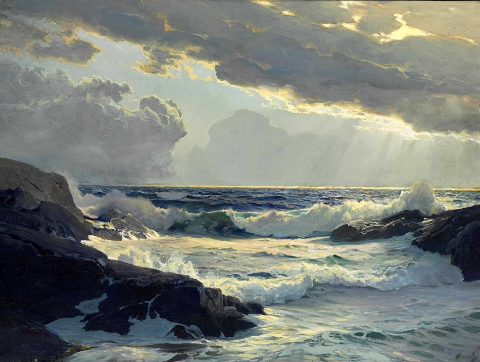 Frederick Judd Waugh- private collection. Title: Freshening Breeze. Date: c 1900-1940. Materials: oil on canvas. Dimensions: 76.2 x 101.6 cm. Inscriptions: Waugh (lower right).  Source: http://www.christies.com/lotfinderimages/d57684/d5768471a.jpg. I have changed the contrast of the original photo.