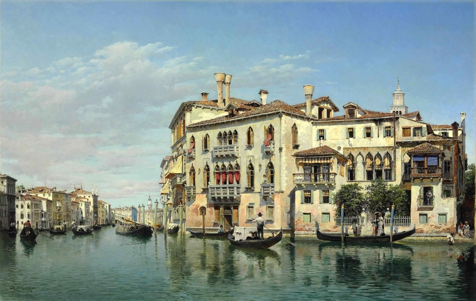 Federico del Campo – private collection. Title: The Grand Canal, Venice. Date: 1881. Materials: oil on canvas. Dimensions: 45.8 x 70.5 cm. Inscriptions:  F del Campo/Venezia 1881 (lower left). Sold by Christie's in New York, on April 28, 2014. Source: http://www.christies.com/lotfinderimages/d57866/d5786684a.jpg. I have changed the contrast of the original photo.