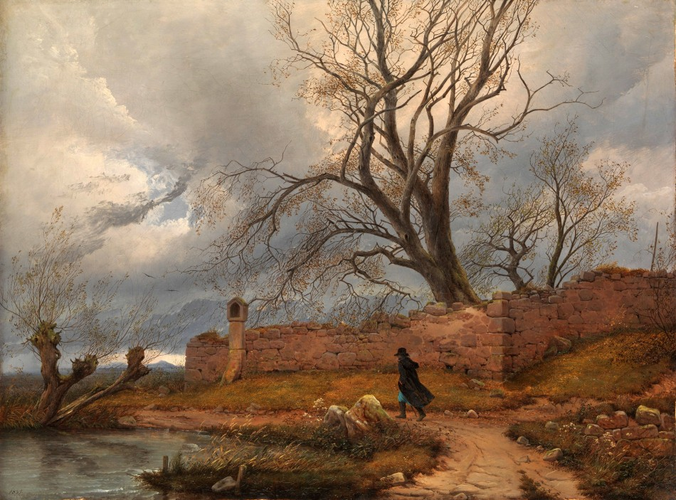 Julius von Leypold – The Metropolitan Museum of Art 2008.7. Title: Wanderer in the Storm. Date: 1835. Materials: oil on canvas. Dimensions: 42.5 x 56.5 cm. Nr.: 2008.7. Source: http://images.metmuseum.org/CRDImages/ep/original/DP164876.jpg. I have changed the contrast and the colors of the original photo