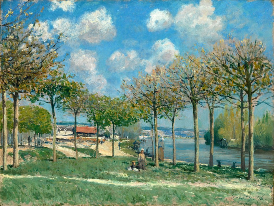 Alfred Sisley- The Metropolitan Museum of Art 1992.103.4. Title: The Seine at Bougival. Date: 1876. Materials: oil on canvas. Dimensions: 46.4 x 61.3 cm. Nr.: 1992.103.4. Source: http://images.metmuseum.org/CRDImages/ep/original/DP323410.jpg.I have changed the contrast of the original photo.