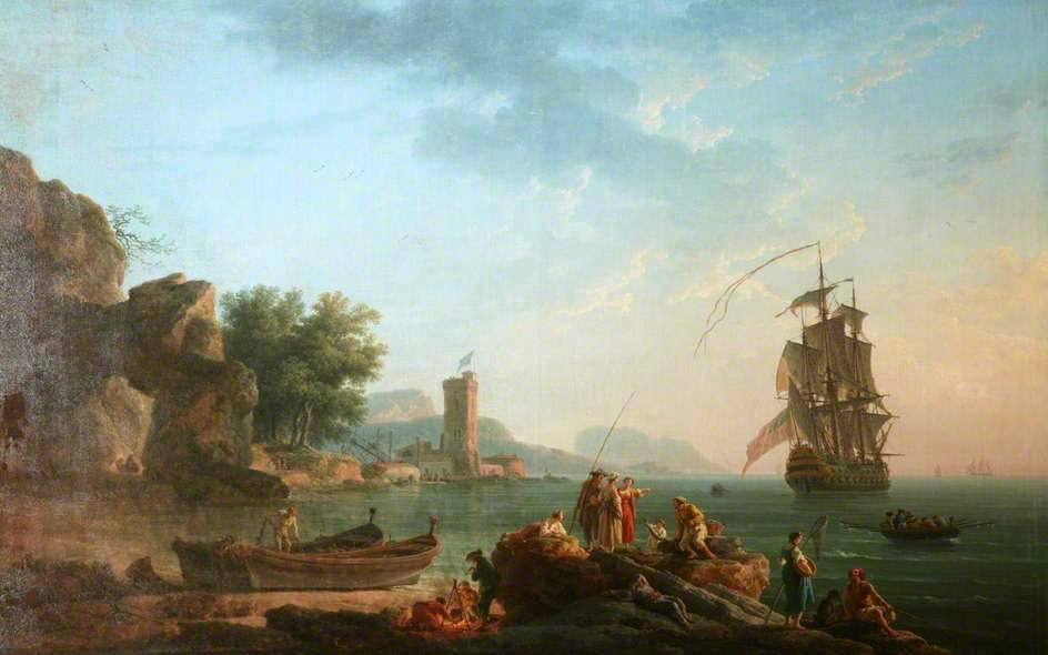 Claude-Joseph Vernet – Manchester City Galleries. Title: Coast Scene with a British Man of War. Date: 1766. Materials: oil on canvas. Dimensions: 81.8 x 131.2 cm. Source: http://www.bbc.co.uk/arts/yourpaintings/paintings/coast-scene-with-a-british-man-of-war-206314. I have changed the contrast of the original photo.