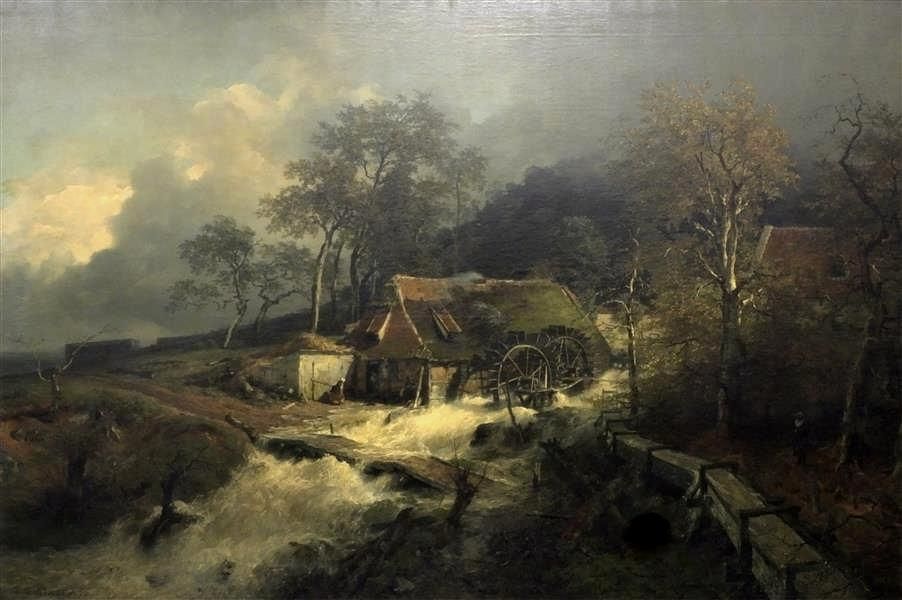 Andreas Achenbach – Staatliche Kunstsammlungen Dresden Gal.-Nr. 2349. Title: Dutch Wassermühle am Waldbach. Date: 1872. Materials: oil on canvas. Dimensions: 157 x 236 cm. Nr.: Gal.-Nr. 2349. Source: http://skd-online-collection.skd.museum/imagescreate/image.php?id=239447&type=gross. I have changed the contrast and the colors of the original photo.