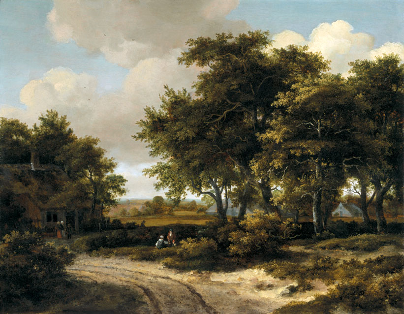 Meindert Hobbema – The Kremer Collection. Title A Wooded Landscape with a Roadside Cottage. Date: c. 1663-1668. Materials: oil on panel. Dimensions: 52.5 x 67.5 cm. Source: http://3.bp.blogspot.com/-digHauqutuY/Tp3a6TLCaoI/AAAAAAAACiI/28J5qD29K_I/s1600/PAYSAG~2.JPG