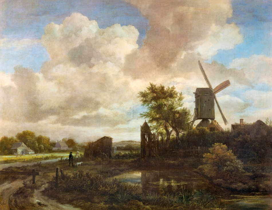 Jacob van Ruisdael – The Royal Collection RCIN 405538. Title: Evening Landscape: a Windmill by a Stream. Date: c. 1650. Materials: oil on canvas. Dimensions: 79.1 x 102.4 cm. Nr.: RCIN 405538. Source: http://gallery.nen.gov.uk/assets/1106/0000/0103/ruisdael_-_evening_landscape.jpg. I have changed the light and contrast of the original photo.