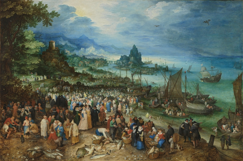 Jan Brueghel the Elder – Alte Pinakothek 187. Title: Harbour Scene with Christ Preachin. Date: 1598. Materials: oil on oak. Dimensions: 79.3 x 118.6 cm. Nr.: inv. no. 187. Source: http://www.pinakothek.de/sites/default/files/gemaelde/original/seehafen_mit_predigt_christi_2012-2529_187.jpg. I have changed the light and contrast of the original photo.