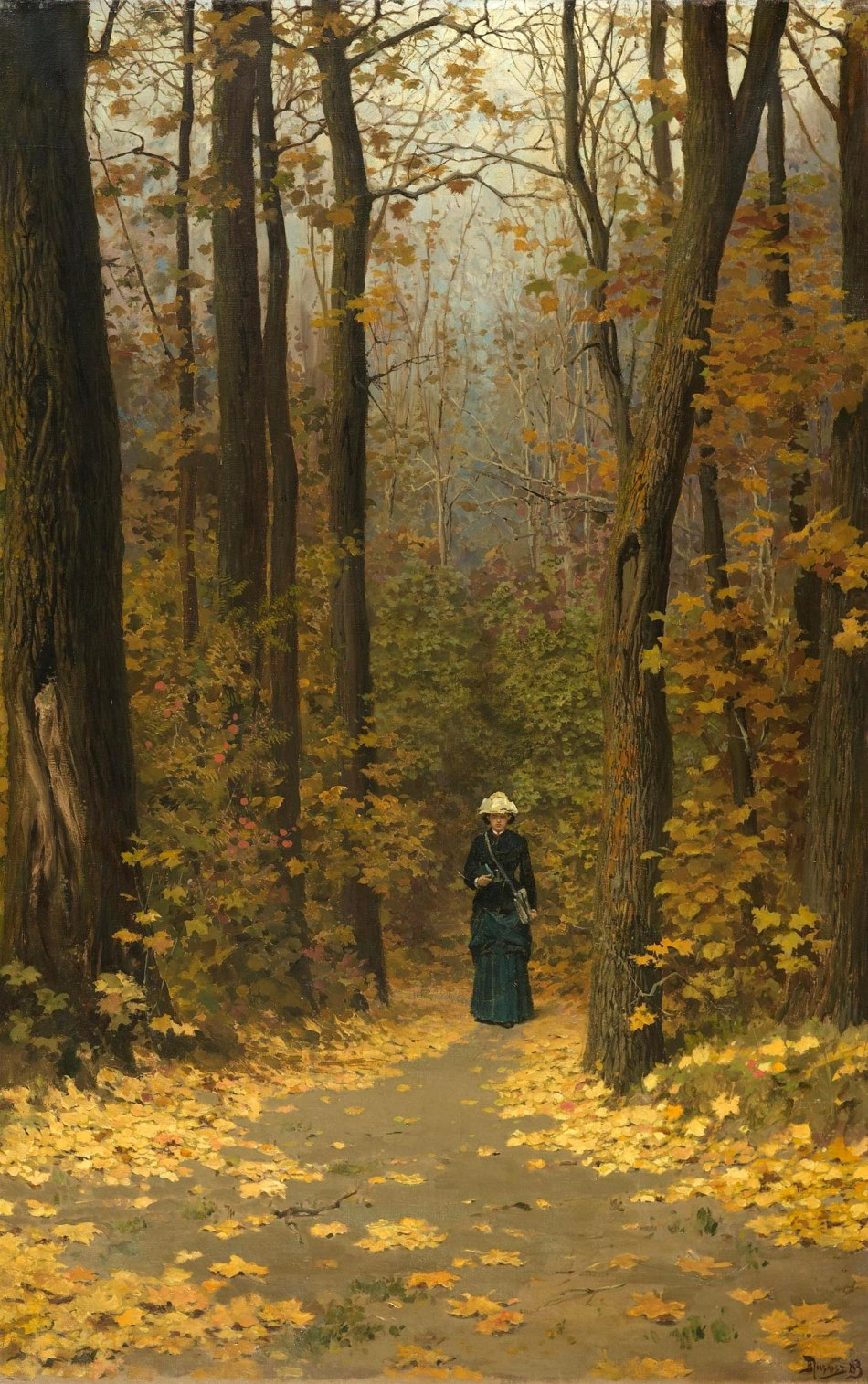 Vasily Polenov - private collection. Title: Spaziergängerin auf einem Waldweg. Date: 1883. Materials: oil on canvas. Dimensions: 114.5 x 67.3 cm. Sold by Koller Auktionen in Zürich, on March 27, 2009.  Source: http://www.fabulousmasterpieces.co.uk/userimages/vasily.jpg. I have changed the contrast of the original photo.