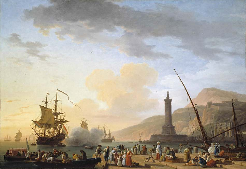 Claude-Joseph Vernet – Timken Museum of Art. Title: A Seaport at Sunset. Date: 1749. Materials: oil on canvas. Dimensions: 114 x 164.1 cm. Nr.: ? Source: http://www.timkenmuseum.org/sites/default/files/Vernet_0.jpg. I have changed the light of the original photo.