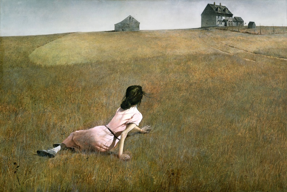 Andrew Wyeth – The Museum of Modern Art 16.1949. Title: Christina's World. Date: 1948. Materials: tempera on panel. Dimensions: 81.9 x 121.3 cm. Nr.: 16.1949. Source: http://joseangelgonzalez.com/wp-content/uploads/2013/09/wyethok.jpg. I have changed the contrast of the original photo.
