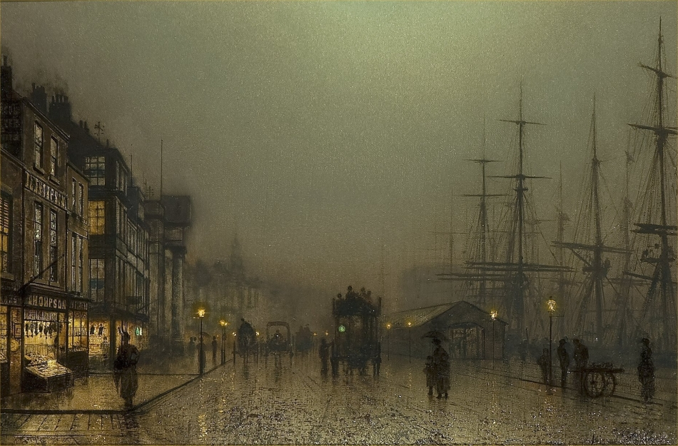 John Atkinson Grimshaw – private collection? Title: Liverpool Docks. Date: c. 1880s. Materials and dimensions unknown. Source http://www.artscroll.ru/Images/2008/j/John%20Atkinson%20Grimshaw/000064.jpg.