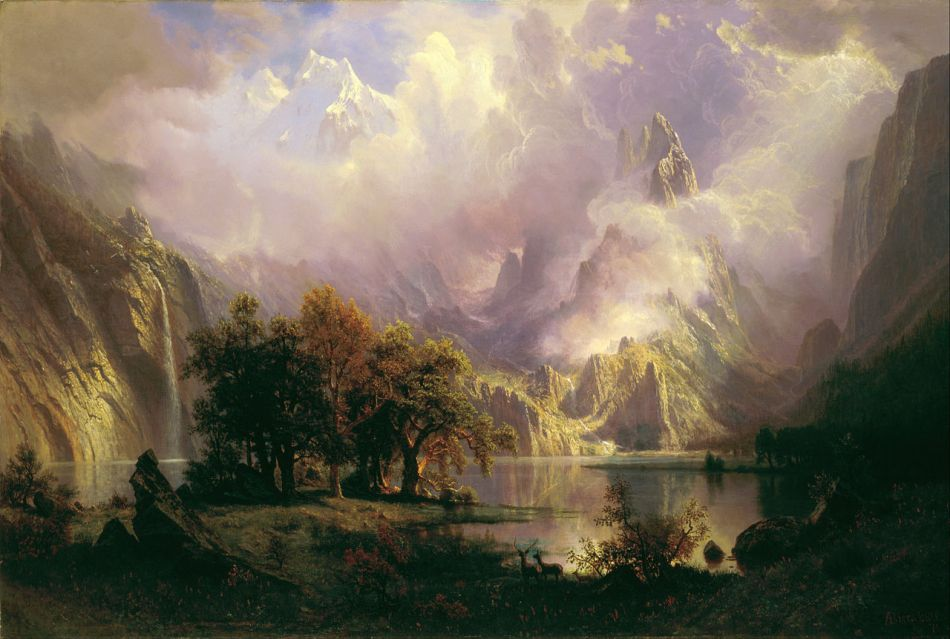 Albert Bierstadt – The White House Art Collection 981.1468.1. Title: Rocky Mountain Landscape.  Date: 1870. Materials: oil on canvas. Dimensions: 93 x 139.1 cm. Inscriptions: ABierstadt [AB in monogram] /70 (lower right). Source: https://commons.wikimedia.org/wiki/File:Albert_Bierstadt_-_Rocky_Mountain_Landscape_-_Google_Art_Project.jpg.