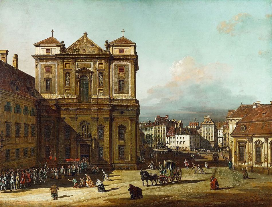 Bernardo Bellotto  – Kunsthistorisches Museum GG_1652. Title: Die Freyung in Wien, Ansicht von Nordwesten. Date: 1758-1761. Materials: oil on canvas. Dimensions: 116 x 152 cm. Nr.: Inv.-Nr. GG_1652.  Source: https://commons.wikimedia.org/wiki/File:Canaletto_(I)_066.jpg. I have changed the contras of the original photo.