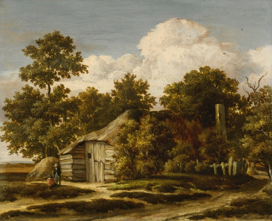 Meindert Hobbema – private collection. Title: Cottage at the Edge of a Wood. Date: c. 1658-1661. Materials: oil on panel. Dimensions: 27.2 x33 cm. Auctioned by Sotheby's in New York, on April 22, 2015. Source http://www.sothebys.com/content/dam/stb/lots/N09/N09335/193N09335_4D87B.jpg.