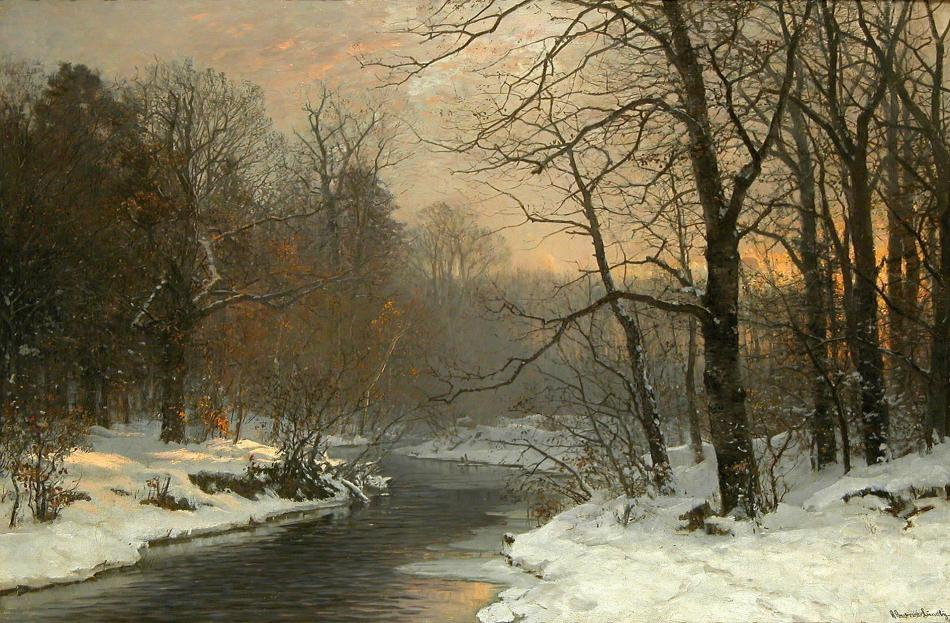 Anders Andersen Lundby – Burlington. Title: As Evening Falls. Date: c. 1870-1920. Materials: oil on canvas. Dimensions: 76.2 x 114 cm. Source: https://plus.google.com/106573991618564275459/videos?pid=5877901296672628338&oid=106573991618564275459. I have changed the contrast of the original photo.