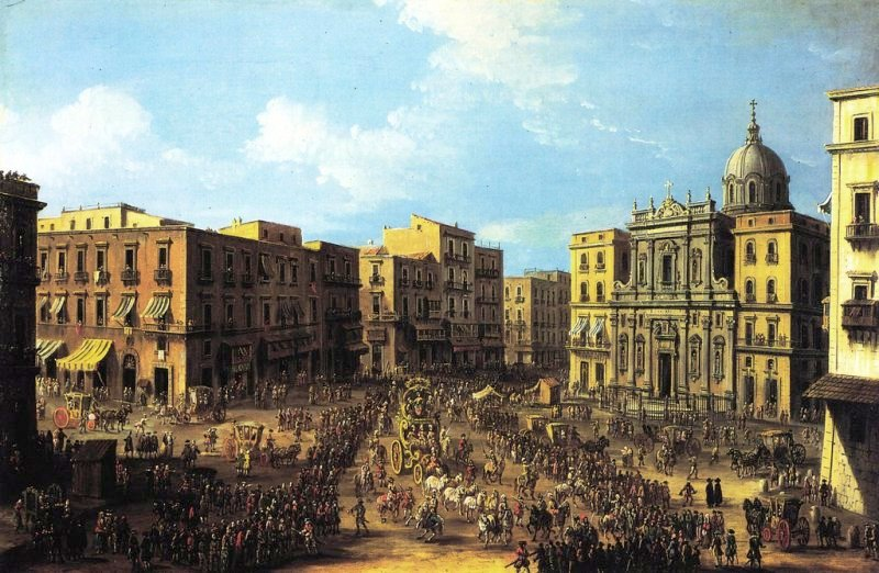 Antonio Joli  – private collection. Title: Carnevale a largo San Ferdinando a Napoli. Date: c.1757. Materials: oil on canvas. Dimensions: 52.1 x 78.7 cm. Source: http://www.atlantedellarteitaliana.it/immagine/00008P/4749OP638AU8356.jpg. I have changed the light and contrast of the original photo.