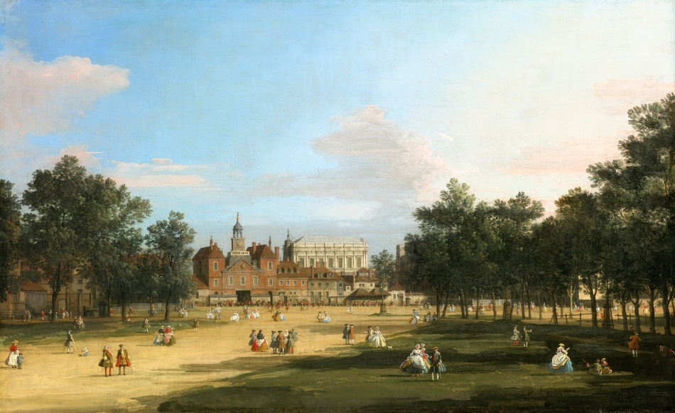 Canaletto – private collection. Title: London, a View of the Old Horse Guards and Banqueting Hall, Whitehall Seen from St. James' Park. Date: 1749. Materials: oil on canvas. Dimensions: 47.3 x 76.8 cm. Auctioned by Sotheby's in New York, on January 29, 2015. Source: http://artobserved.com/artimages/2015/01/Canaletto-London-A-View-Of-The-Old-Horse-Guards-And-Banqueting-Hall-Whitehall-Seen-From-St.-James-Park-Via-Sothebys.jpg. I have changed the light and contrast of the original photo.