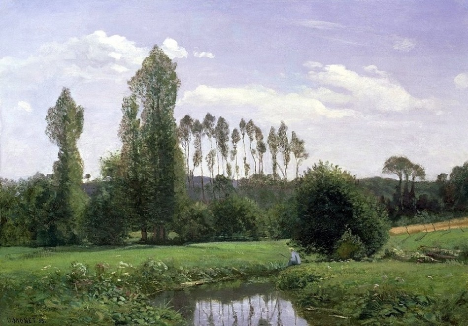 Claude Monet – private collection. Title:  Vue prise à Rouelles. Date: 1858. Materials: oil on canvas. Dimensions: 46 x 65 cm. Inscriptions: C. Monet 58 (bottom left). Source: http://memit.com/978270_11222345-1002294983122815-5551723310354910676-n-jpg. I have changed the contrast of the original photo.