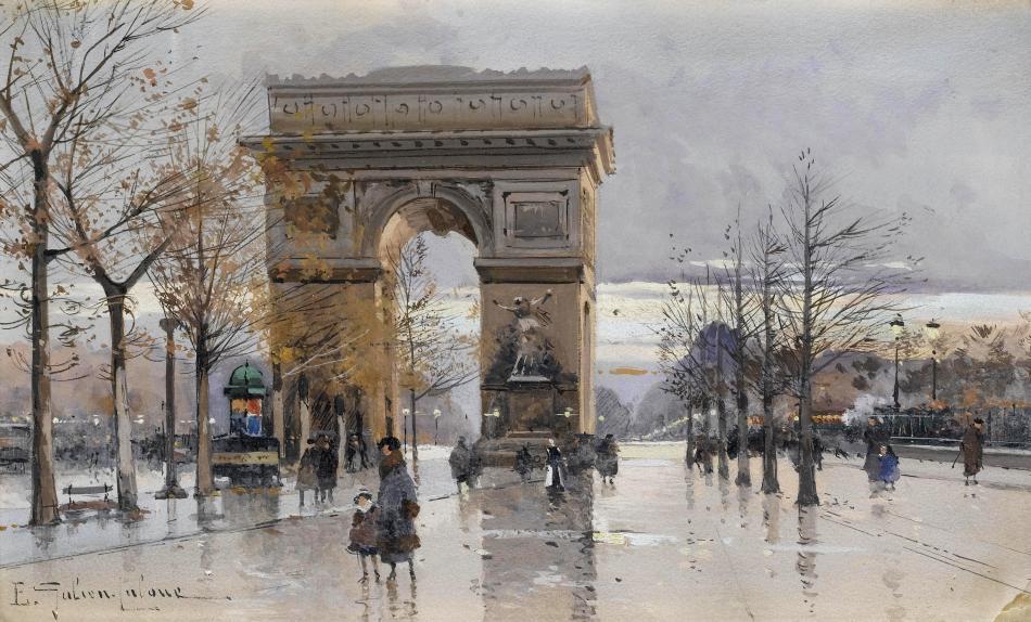 Eugène Galien-Laloue – private collection. Title:  L'Arc de Triomphe. Date: c. 1910-1930. Materials: gouache. Dimensions: 18 x 30 cm. Source: https://commons.wikimedia.org/wiki/File:Eug%C3%A8ne_Galien-Laloue_Paris_Arc_de_Triomphe_3.jpg. I have changed the light of the original photo.