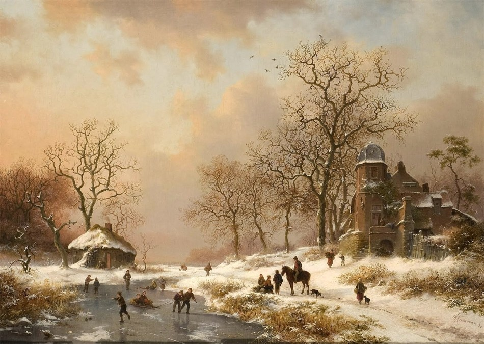 Frederik Marinus Kruseman – private collection. Title: Winterlandschaft mit altem Villengebäude und Eisläufern an gefrorenem Bachlauf. Date: c. 1860s-1870s. Materials: oil on canvas. Dimensions: 51 x 71 cm. Source:   http://3.bp.blogspot.com/-KbypVVjOQ-8/UODwJqL_fLI/AAAAAAAABoQ/-r-jgqY0rL8/s1600/Frederik+Marinus+Kruseman+-Winter+%252810%2529.jpg. I have changed the contrast and colors of the original photo.