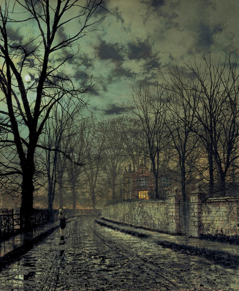 John Atkinson Grimshaw  – private collection. Title: November. Date: 1879. Materials: oil on canvas. Dimensions: 76.2 x 62.9 cm. Inscriptions: Atkinson Grimshaw 1879 (lower right).  Sold by Christie's in New York, on January 27, 2010. Source: https://commons.wikimedia.org/wiki/File:Grimshaw_-_November,_1879.jpg. I have changed the light of the original photo.