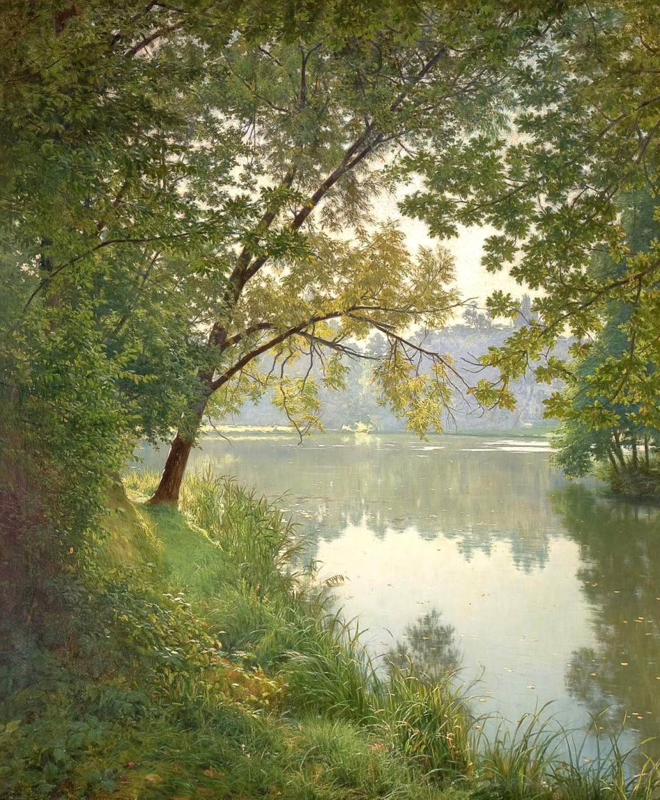 Henri Biva – private collection. Title: Matin à Villeneuve.  Date: 1905-1906. Materials: oil on canvas. Dimensions: 153.7 x 127 cm. Source: https://commons.wikimedia.org/wiki/File:Henri_BIVA,_ca_1905-06,_Matin_%C3%A0_Villeneuve,_Salon_1906_postcard_-_original_painting,_oil_on_canvas,_151.1_x_125.1_cm,_private_collection.jpeg.