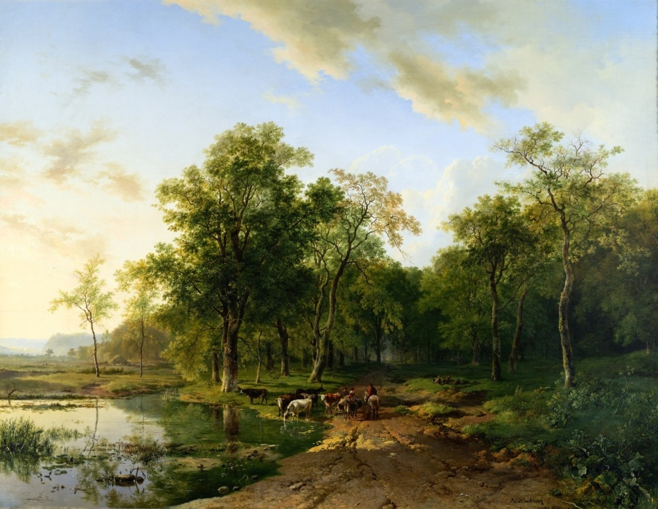 Barend Cornelis Koekkoek – Teylers Museum KS 049. Title:  Summer Landscape. Date: 1830. Materials: oil on canvas. Dimensions: 100 x 129.3 cm. Nr.: KS 049. Source: http://www.teylersmuseum.nl/en/collection/paintings/ks-049-zomerlandschap-barend-cornelis-koekkoek. I have changed the light of the original photo.