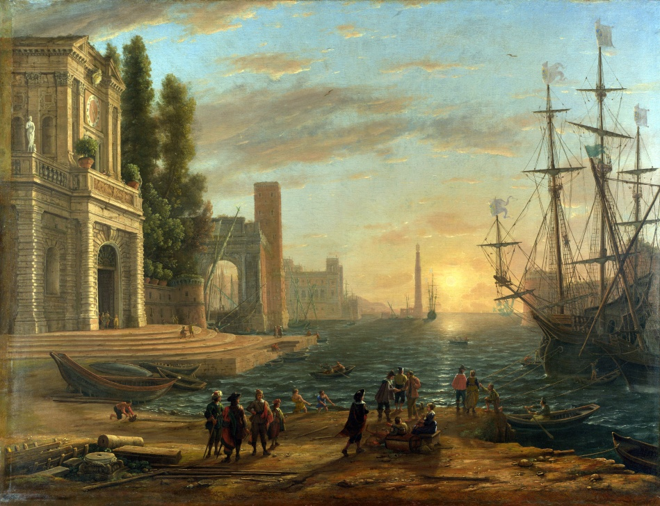 Claude Gellée (Lorrain) – The National Gallery (London) NG5. Title:  A Seaport. Date: 1644. Materials: oil on canvas. Dimensions: 101 x 131 cm. Acquisition date: 1824. Nr.: NG5. Source: http://luxfon.com/images/201205/luxfon.com_14601.jpg. I have changed the light, contrast and colors of the original photo.