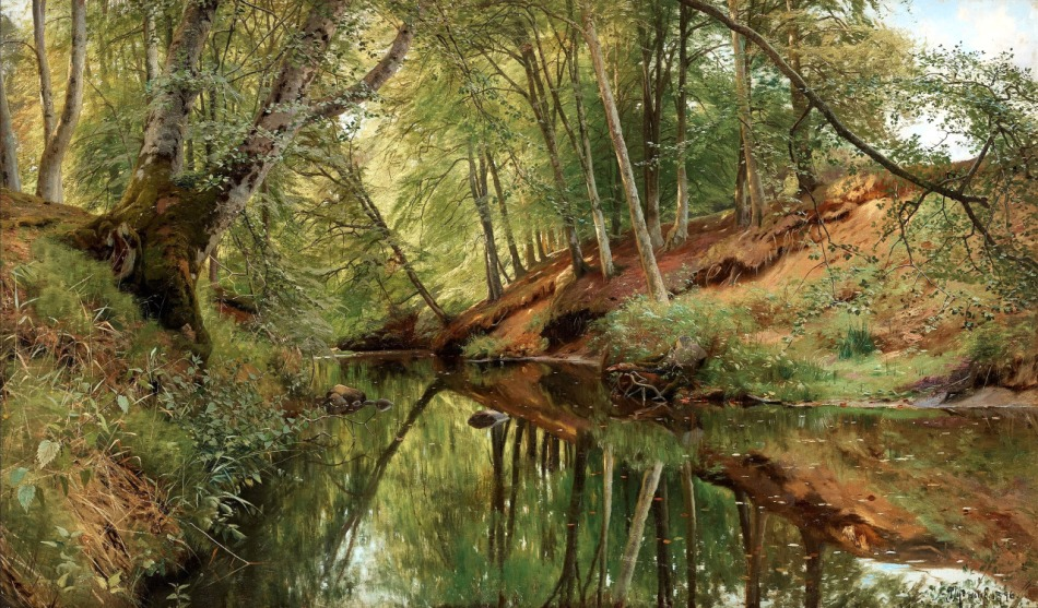 Peder Mørk Mønsted – MacConnal-Mason. TitleThe River in Saeby Skov. Date: 1896. Materials: oil on canvas. Dimensions: 90 x 152 cm. Source:  https://40.media.tumblr.com/1c4cd65b3efa43e45ce8e435d6f2e6c0/tumblr_nomd20FLzM1r7nbrao1_1280.jpg. I have changed the contrast of the original photo.